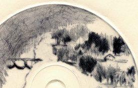 Paysage classique (Frahan), diamètre : 12 cm, pointe-sèche sur CD (Détail)